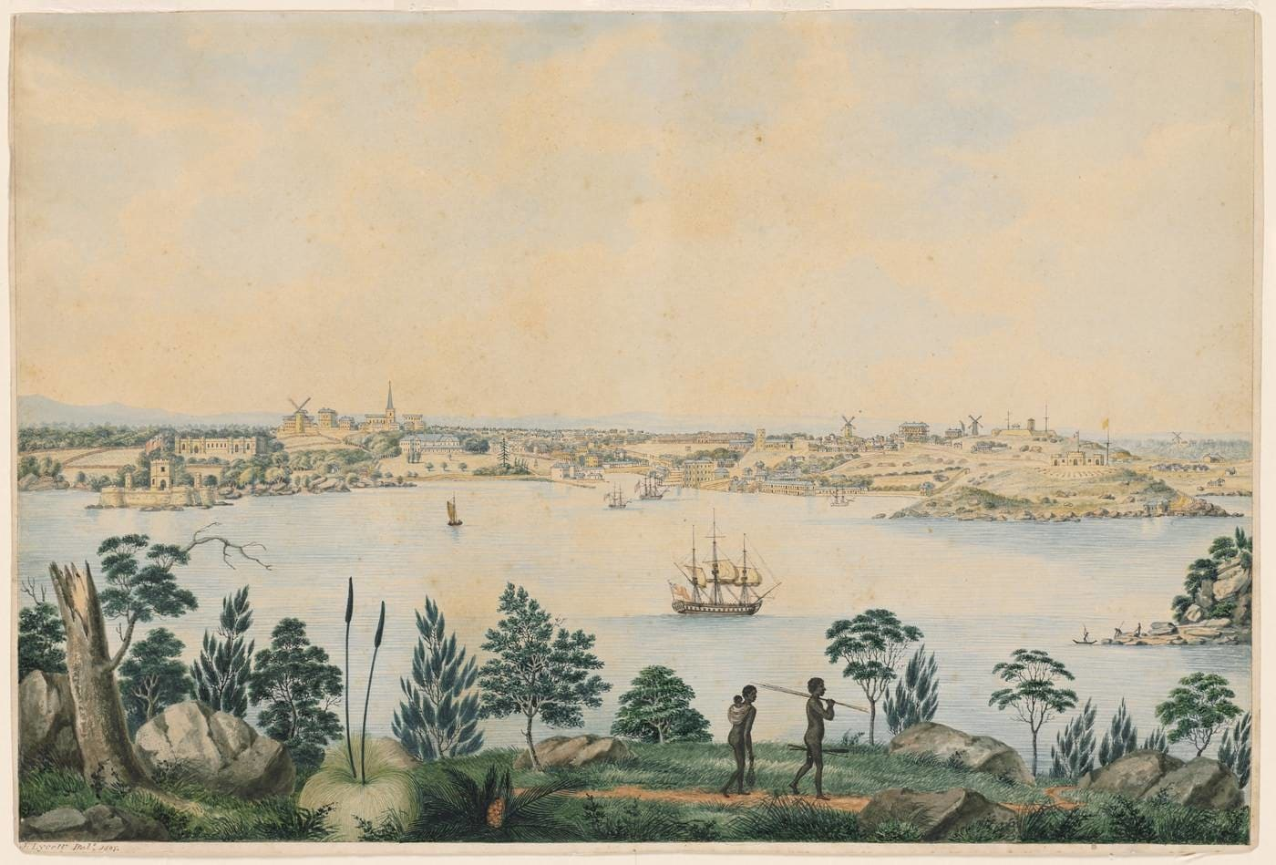 Watercolour painting of Sydney harbour in 1827