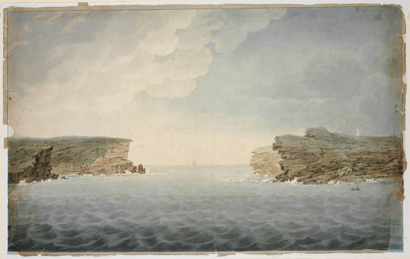 Watercolour painting of Port Jackson showing cliffs on the left and right and the sea in the foreground
