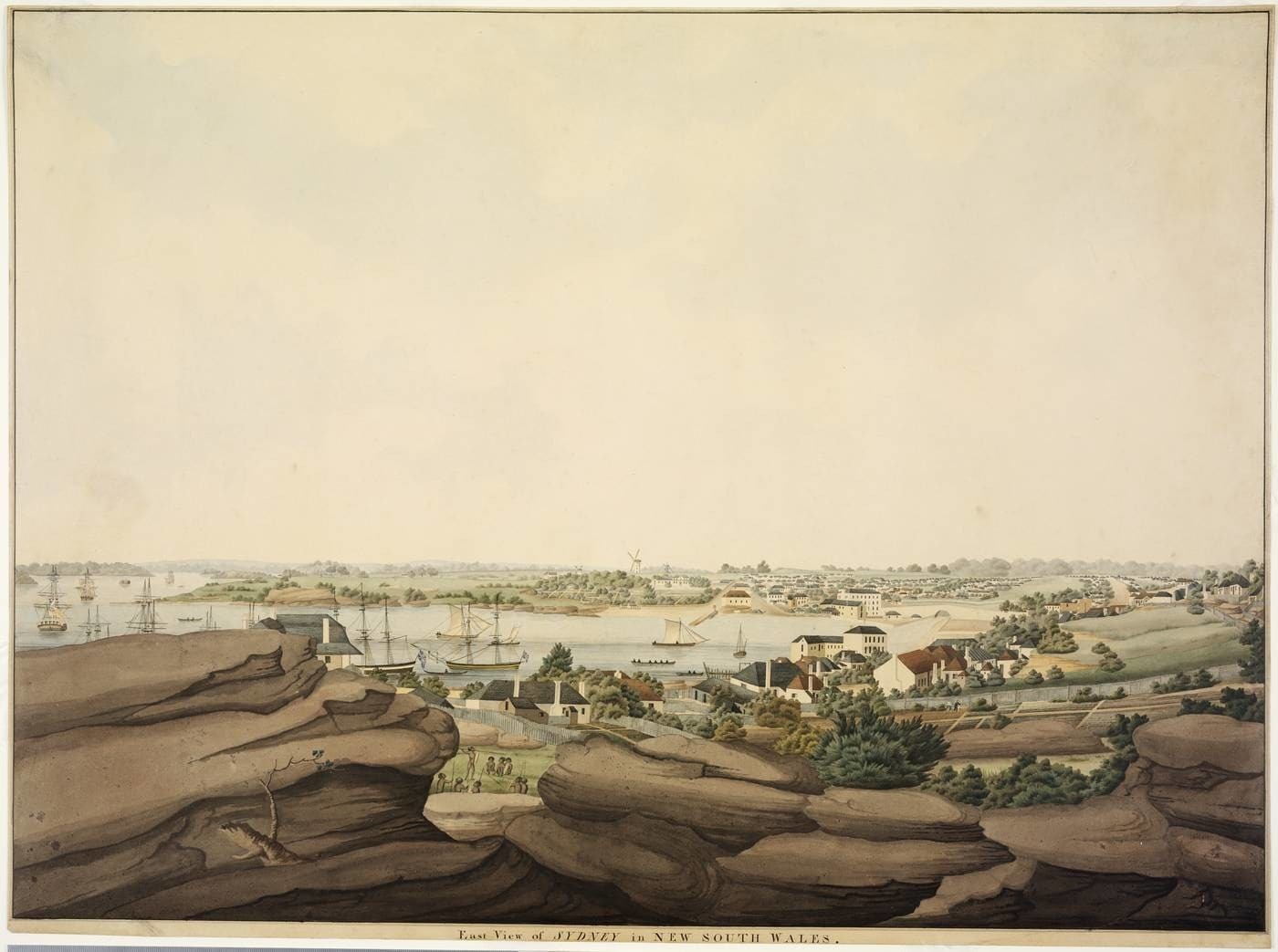 Watercolour painting of Sydney harbour viewed in the distance behind a rocky foreground