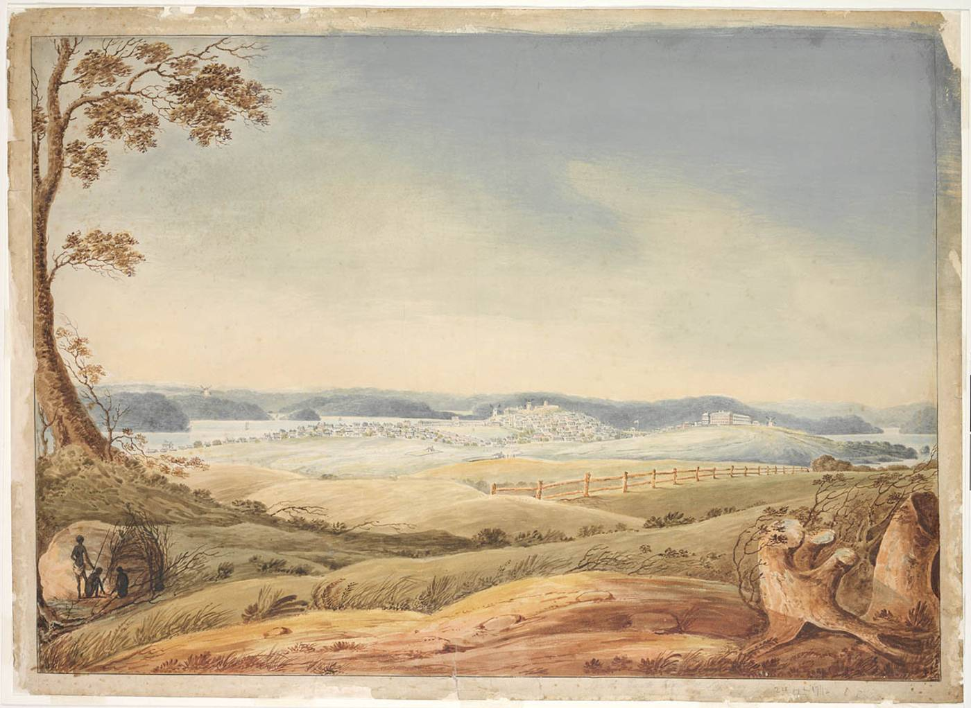 Watercolour painting of a landscape with a tree stump in the right bottom corner