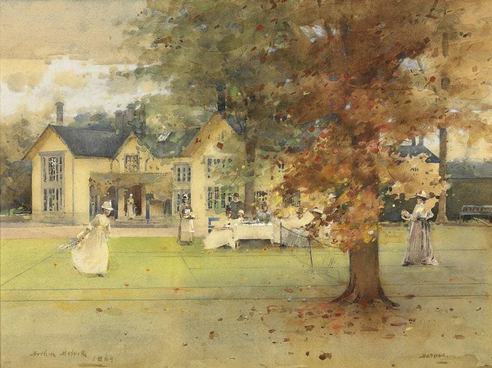 Two women in long skirts and hats play tennis on a lawn, watched by a group of people picnicking at a table and served by a member of house staff. Watercolour painting.