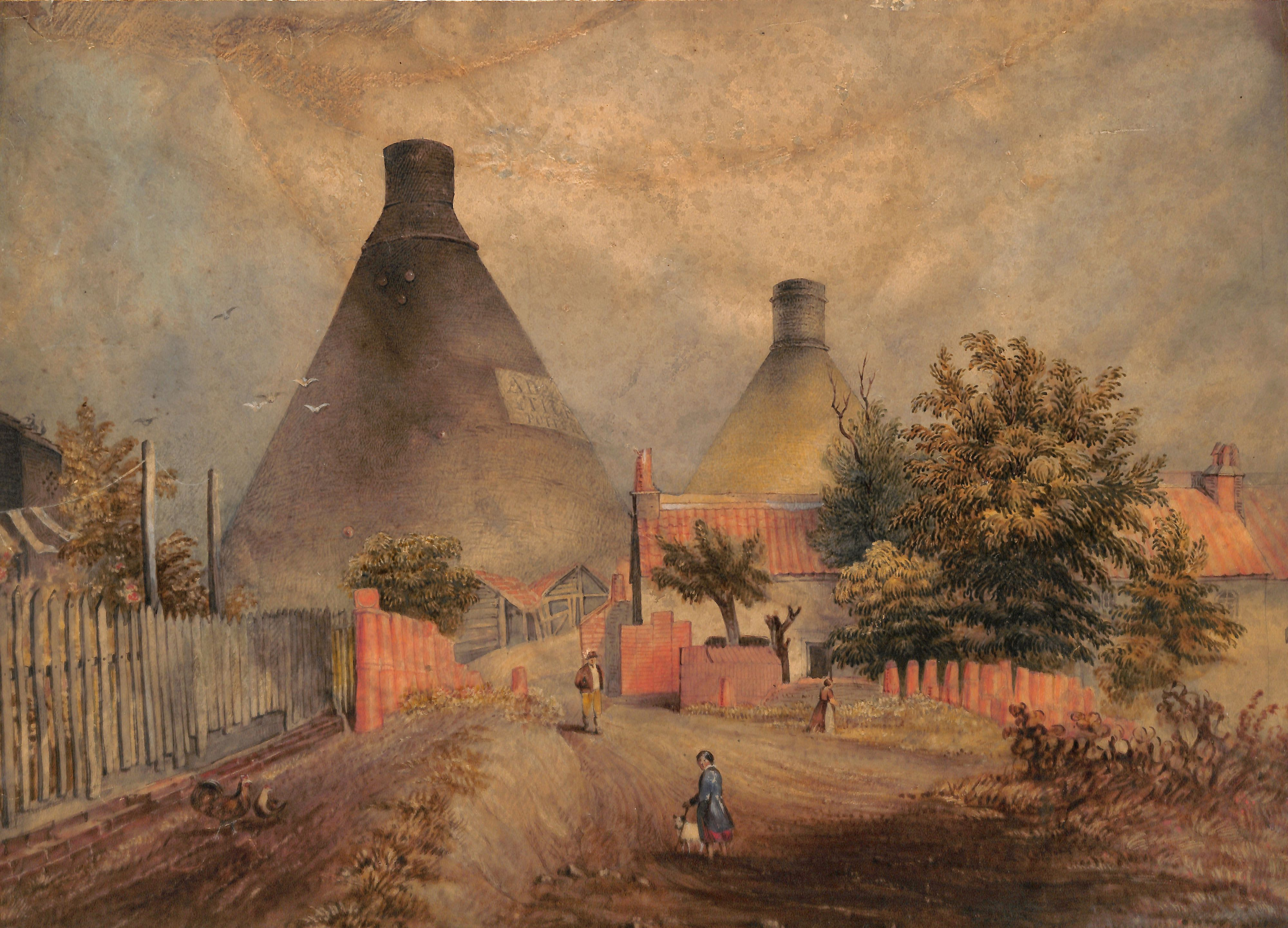 Watercolour painting. Figures walk down a dirt road towards two bottle-shaped tile chimneys and various outbuildings.