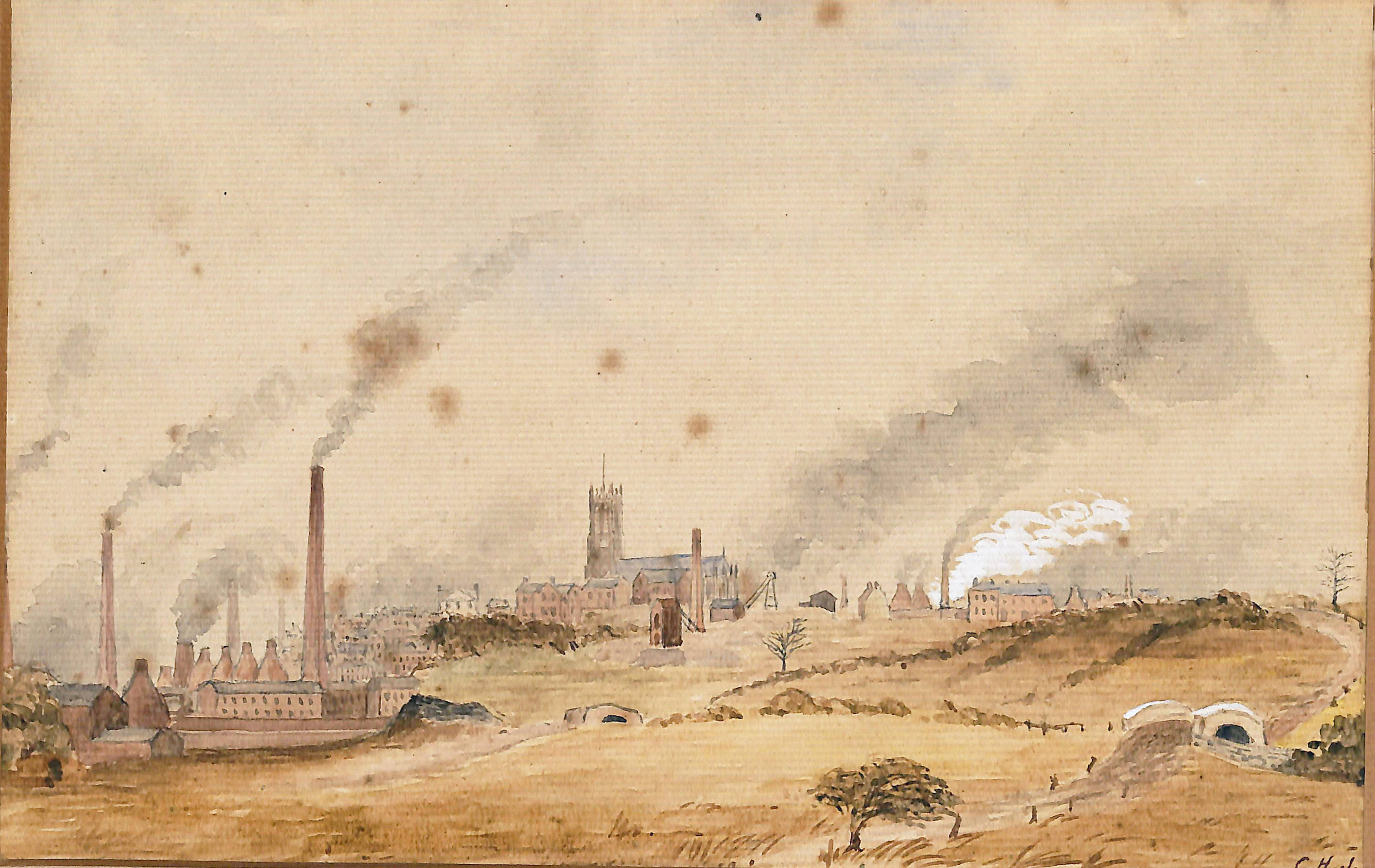 Watercolour painting. A church with a tall square tower is visible in the centre distance. On the left is a pottery works with multiple tall chimneys. On the right is a small stone bridge.