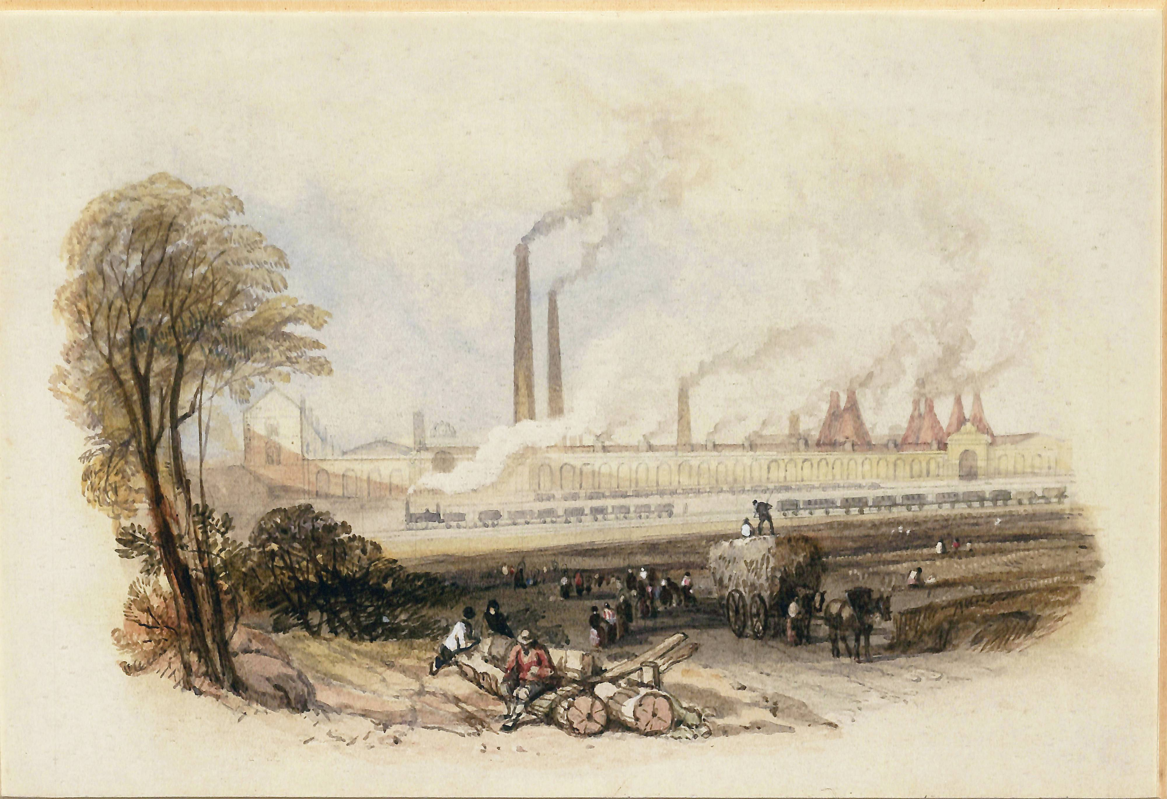 Watercolour painting. Men rest on two felled logs in the foreground. Behind them, a line of pedestrians and a horse-drawn cart walk along a dirt road. In the distance a pottery works is visible as a low building with tall smoking chimneys, some conical in shape. A small steam train with cargo carriages crosses in front of the building.