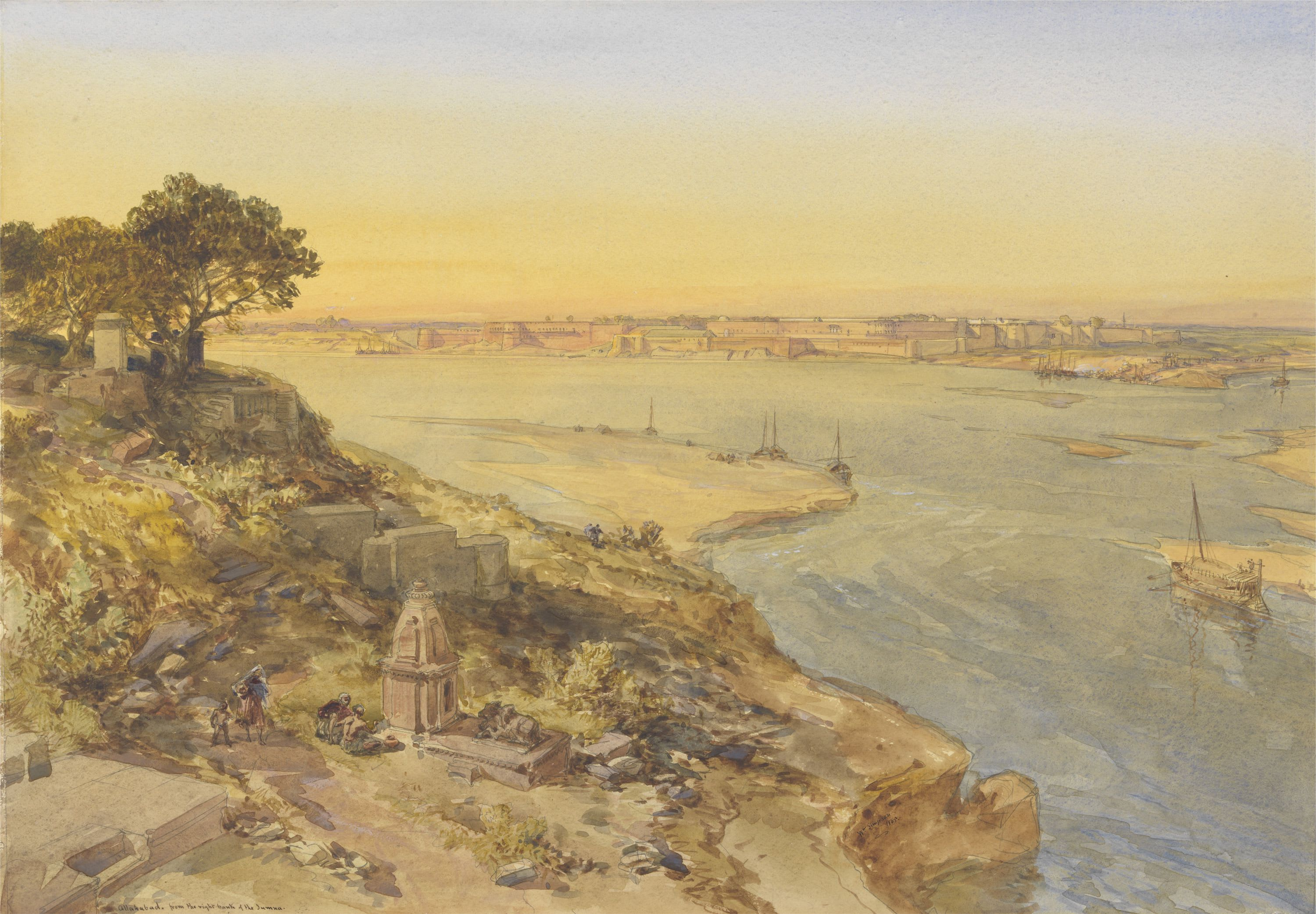 Allahabad, from the Right Bank of the Jumna, 1865, watercolour by William Simpson
