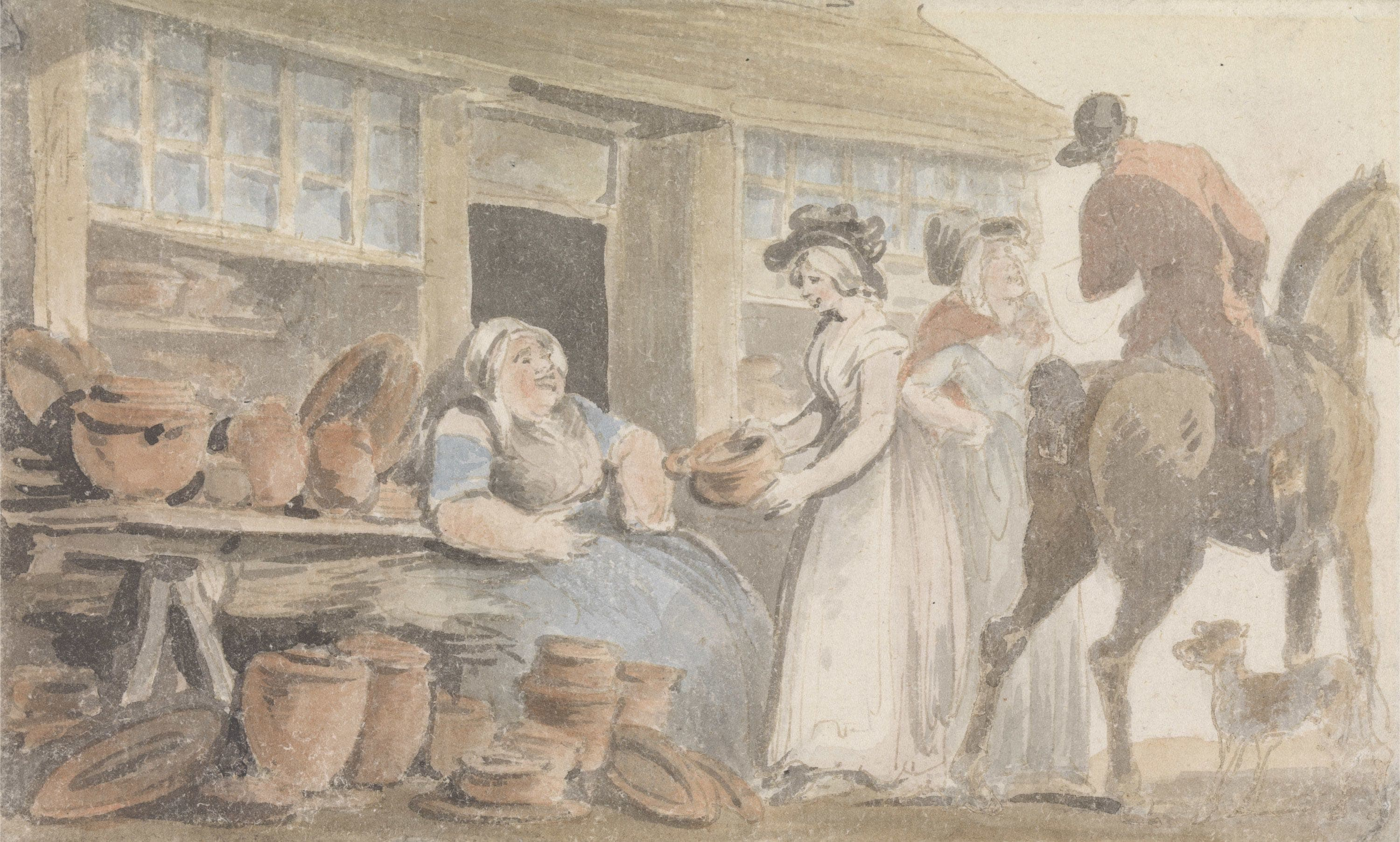 Watercolour painting. A seated woman sells ceramic pots to a well dressed woman outside a small wooden building. On the right, a woman speaks to a man on horseback with a dog.