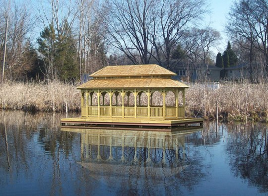 wood oval gazebo