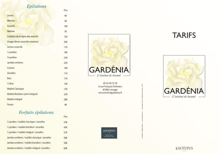 La carte des prestations proposées par l'institut de beauté Gardénia à Limoges