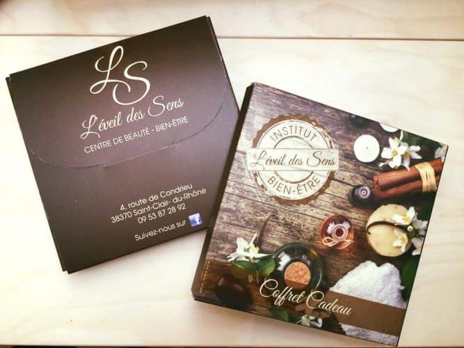 La carte visite de l'institut de beauté l'Eveil des Sens en Isère