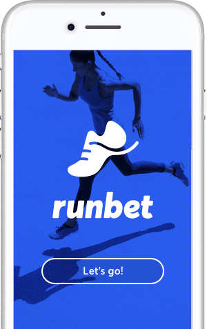 RunBet app welcome screen on white iphone.