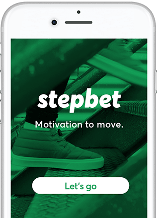Image of StepBet app on a phone.
