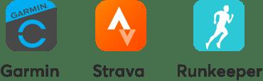 Garmin, Strava, and Runkeeper app logos.