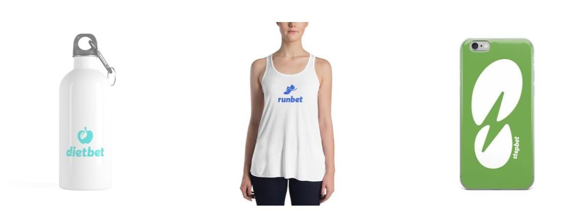 DietBet water bottle, RunBet race jersey, StepBet cellphone case