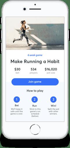 RunBet app on an iPhone.