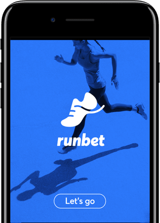 Image of RunBet app on a phone.