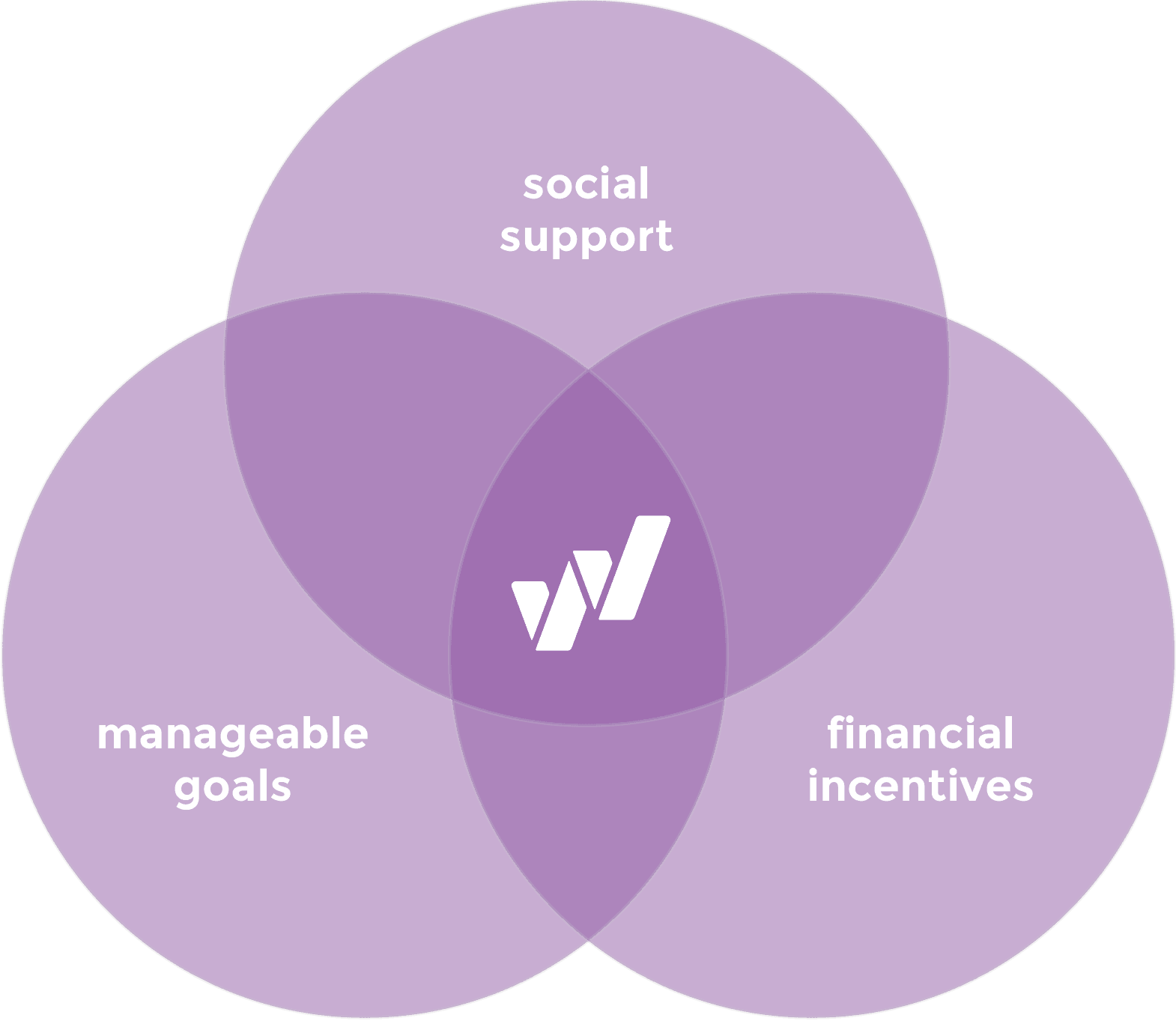 Venn diagram of Social Support, Manageable Goals, and Financial Incentive circles with the WayBetter logo in the center intersection.