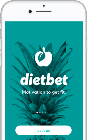 DietBet app on phone on intro screen.