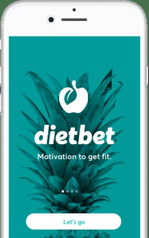 DietBet app on phone on intro screen.
