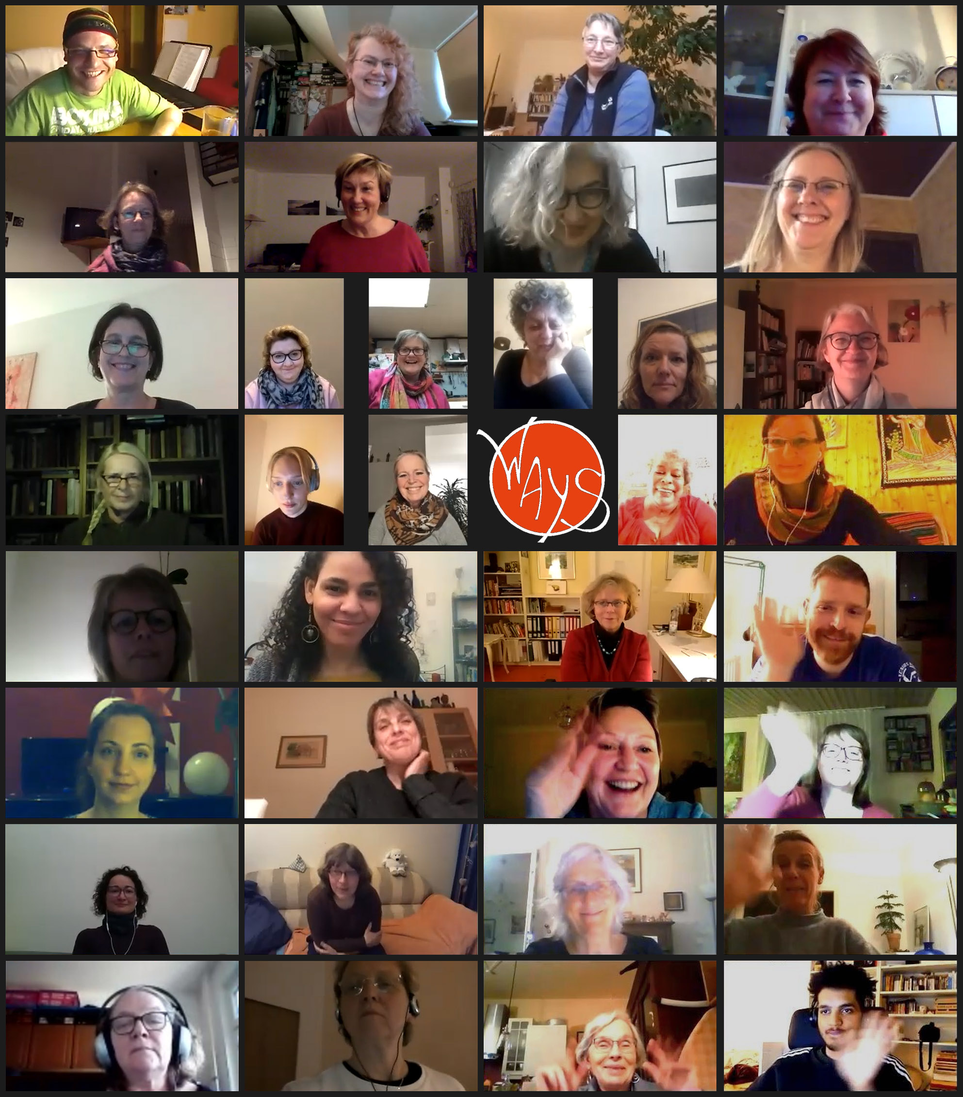 many single singers rehearsing from home via video meeting software