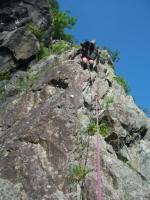 Craig Ddu, Rib and Slab, a more serious feel about this crag