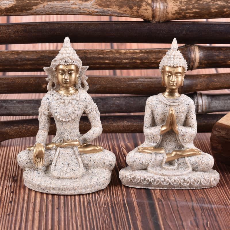 Estatua de resina de Buda de Tailandia, escultura Fengshui de resina para decoración del hogar, decoración para el hogar en miniatura, 1 unidad