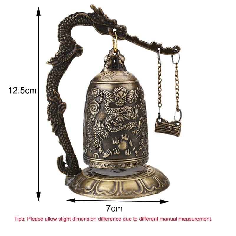Templo de Budismo de cobre, campana de dragón, reloj, estatua tallada de loto, Buda, budismo, artes, Estatua con reloj artesanías decorativas caseras