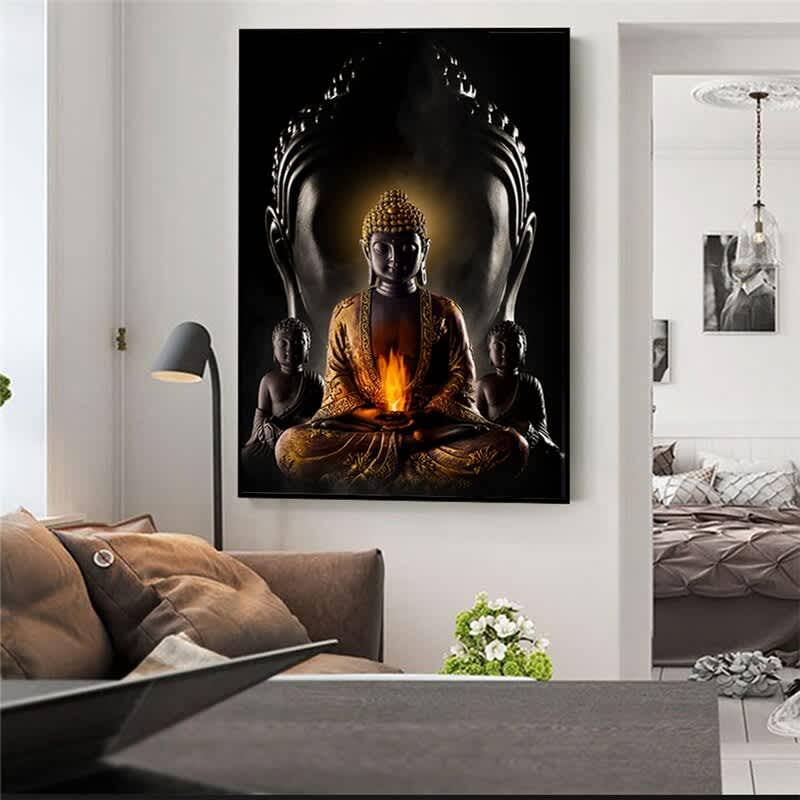 Dios Buda Lona de arte de pared, moderna arte de lienzo budista pinturas en la cuadros de pared pintura póster de budismo decoración de la pared