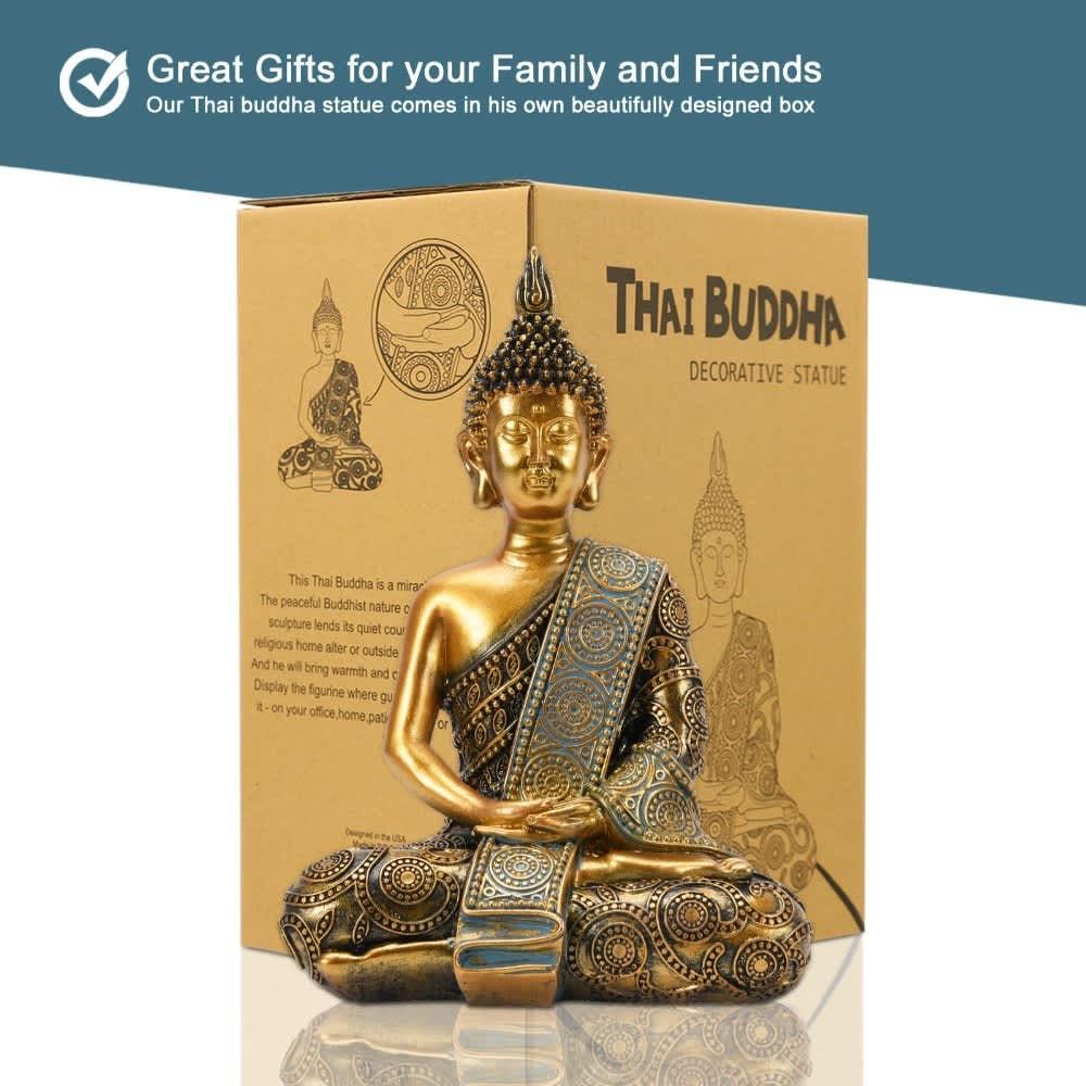 Goodeco-estatua tailandesa de Buda de meditación, ornamento para el hogar, estatua de Buda de jardín Zen, escultura de Buda, decoración de jardín al aire libre, calcomanía para habitación