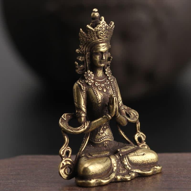 Mini estatua de adorno de Buda de cobre sólida, escultura de Buda para meditación, figuritas en miniatura, decoración para el hogar y la Oficina