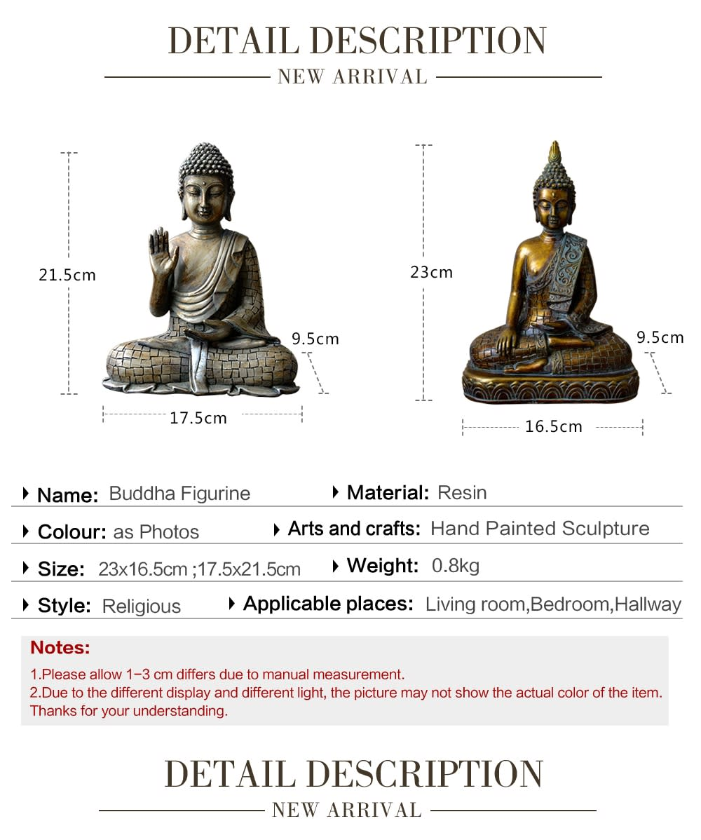Estatua de Buda de Tailandia, escultura de estatua de Buda, decoración del hogar, ornamento de escritorio de oficina, figurita de regalo vintage, estatua de Buda de siting indio