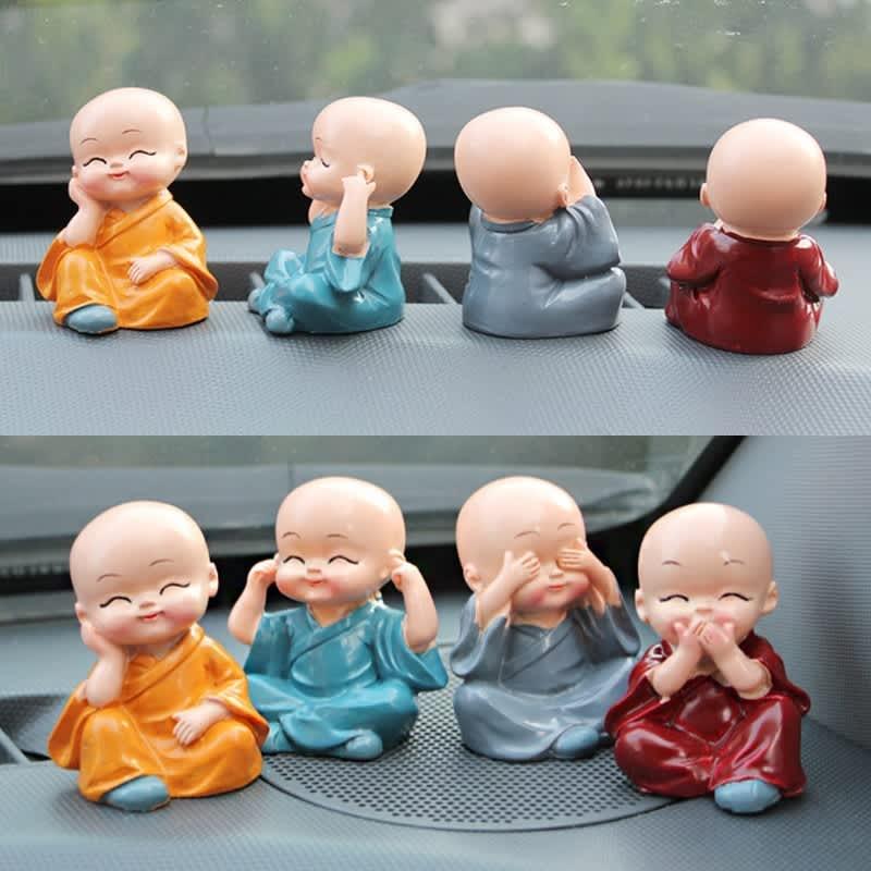 4 unids/lote resina artesanía regalo encantador pequeño monje esculturas lindo monjes estatuas de Buda creativo Buda muñecas Mesa decoración del coche
