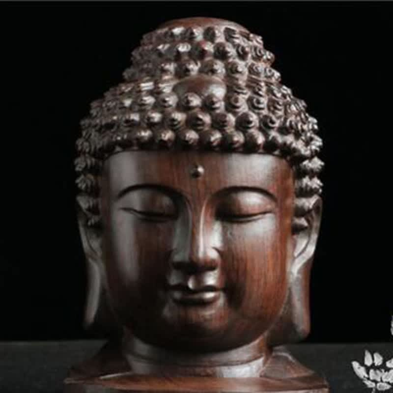 Estatua de Buda de madera, figurita de caoba de la India, estatua de Cabeza de Buda, artesanía, adorno decorativo