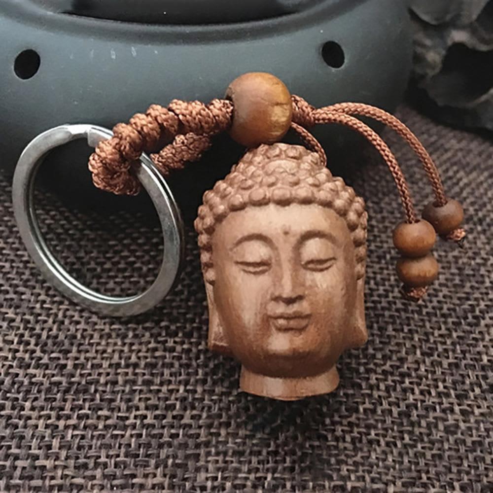 Figura de Cabeza de Buda de madera, arte de la estatua Sakyamuni Tathagata, adorno decorativo