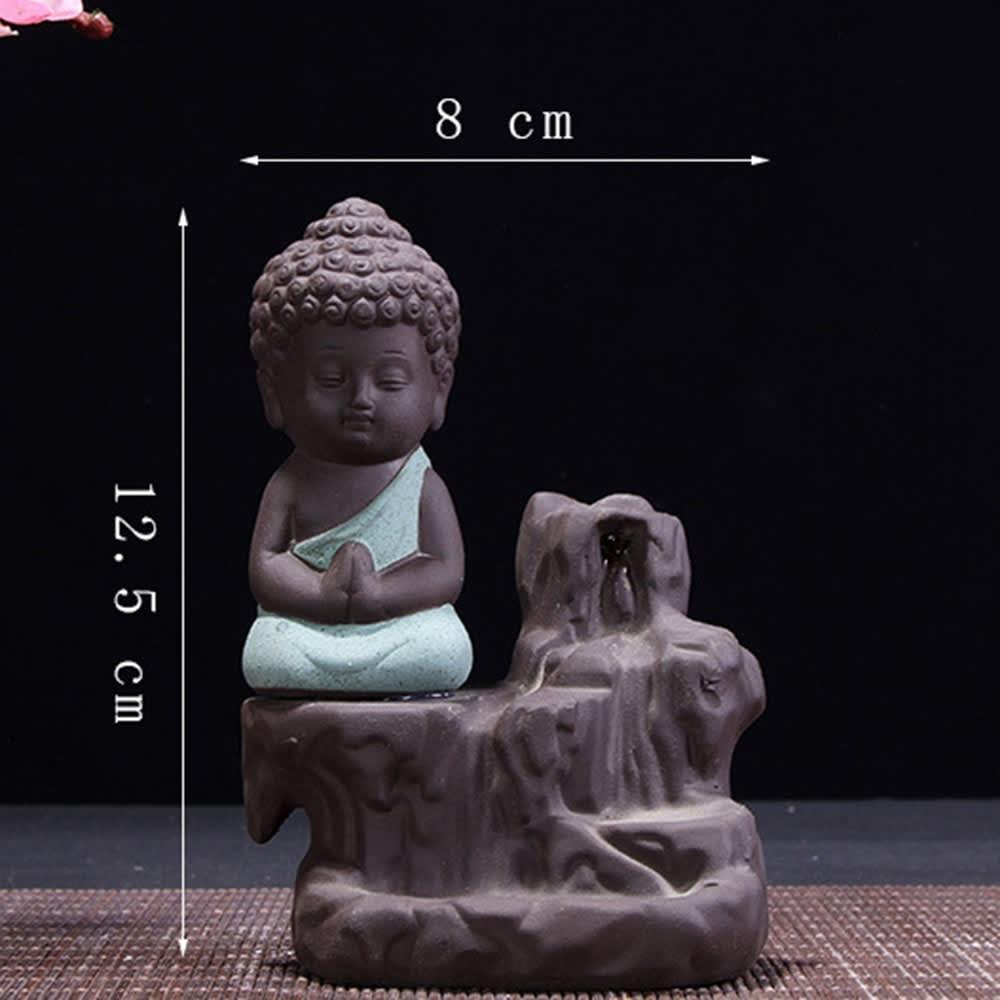 1Pc quemador el pequeño monje Pequeño Buda incensario de cerámica cascada reflujo soporte quemador de incienso casa decoración budista suministros