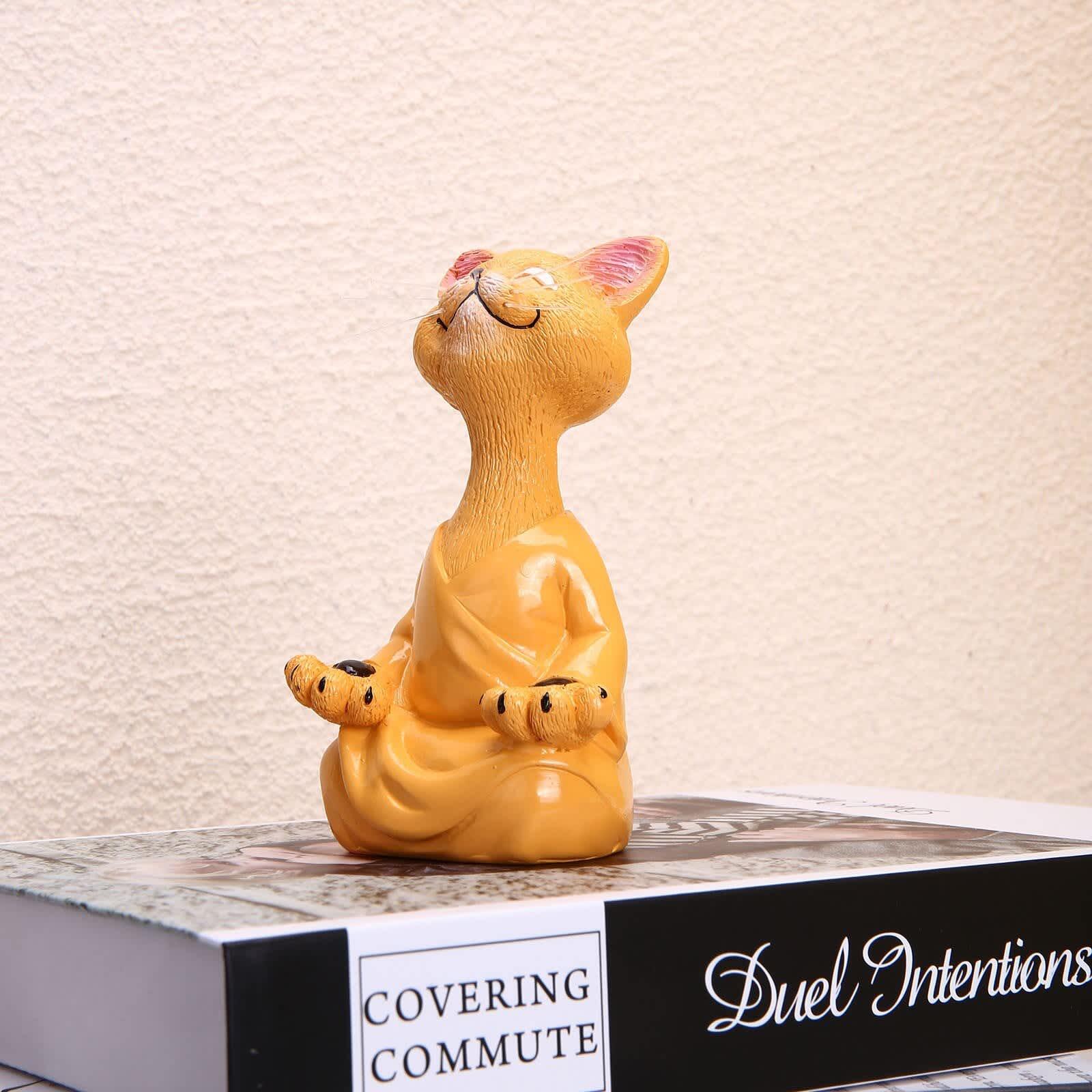 Estatua de gato y Buda para decoración del hogar, estatua de meditación y Yoga, figura de gato feliz, arte de decoración, figurita para jardín