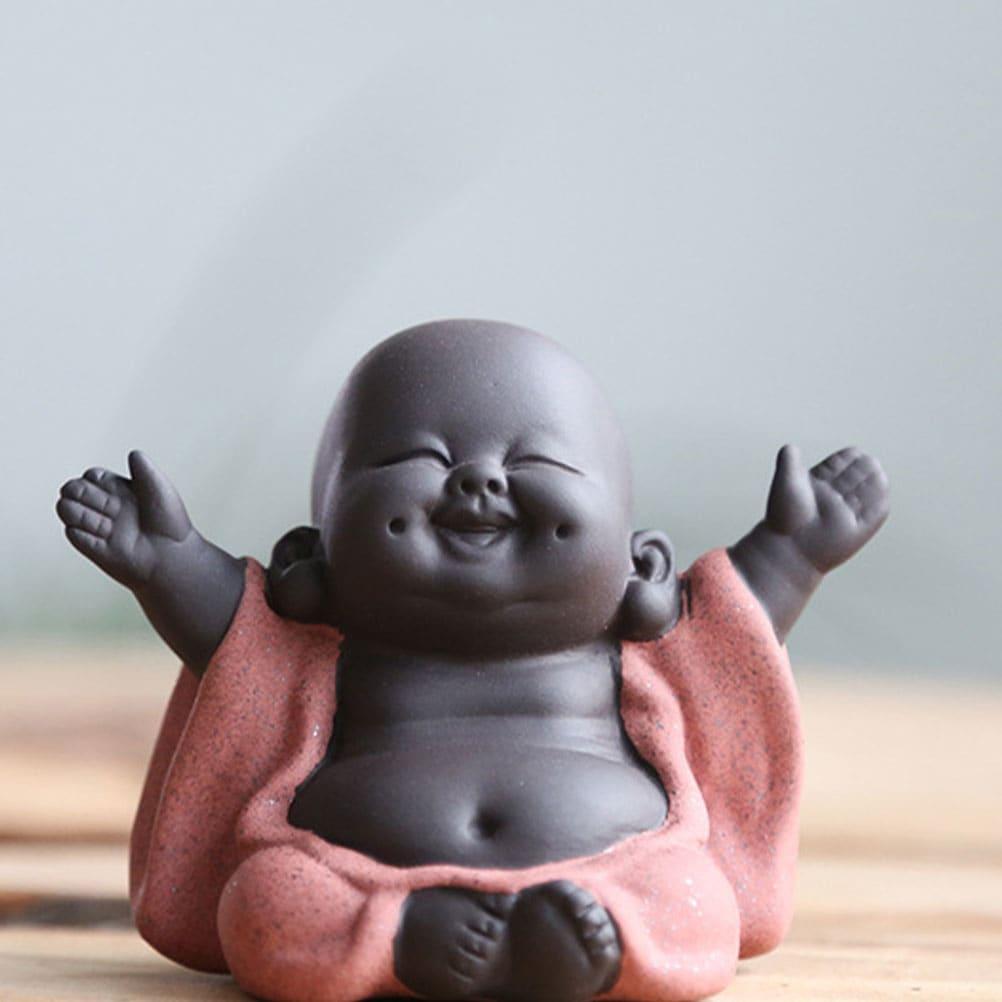 Pequeño Buda estatuas Maitreya mascota de té de Buda té adornos estatua de Buddha Maitreya té escultura mano objetos de artesanía tallados pantalla