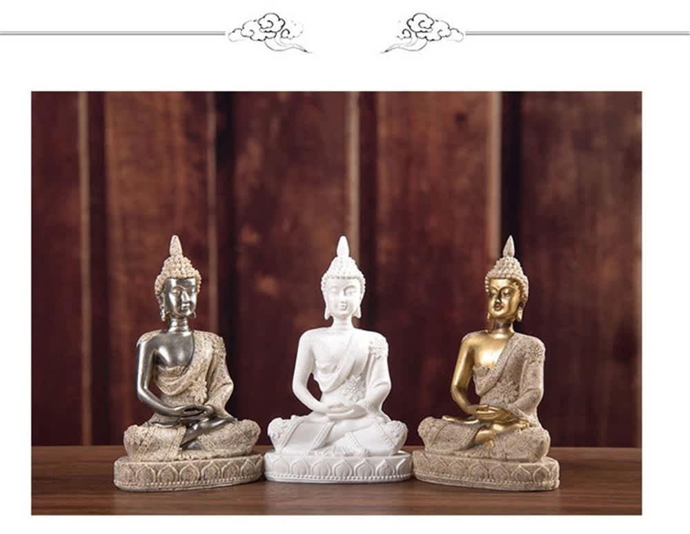 Escultura hecha a mano de Buda sentado, piedra arenisca, Bodhisattva, sala de estar, decoración del hogar, estatuas del sudeste asiático