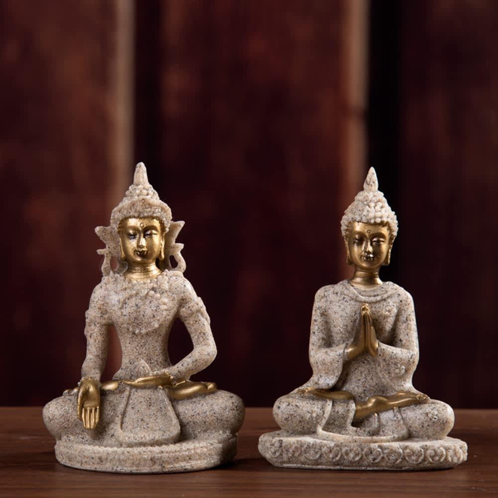Estatua de Buda para meditación, escultura hecha a mano, figurita de meditación, adornos en miniatura, estatua para el hogar, oficina, decoraciones de escritorio