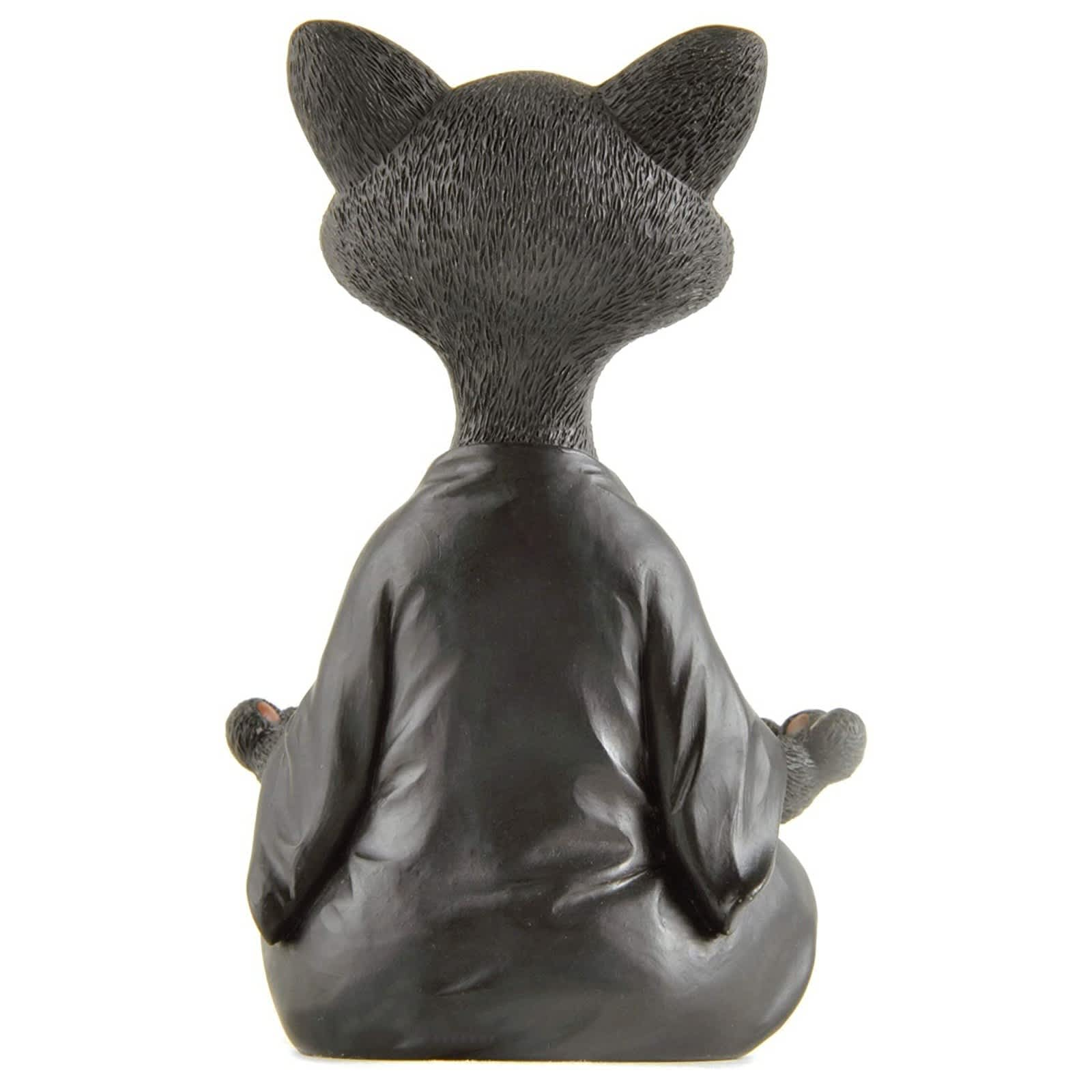 Figura de gato de Buda, decoración de meditación y Yoga, Gato feliz coleccionable, decoración para el hogar y el jardín