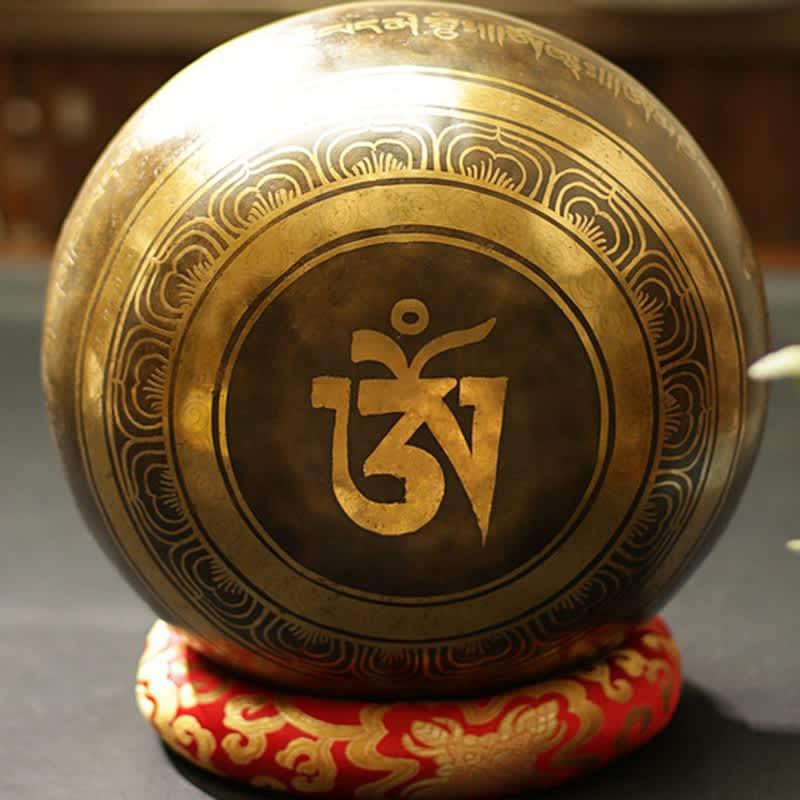 Cuenco de nepalí Tibetano para Yoga, Bol de canto de meditación Fengshui de gran tamaño hecho a mano para decoración del hogar tibetano, budista del Himalaya