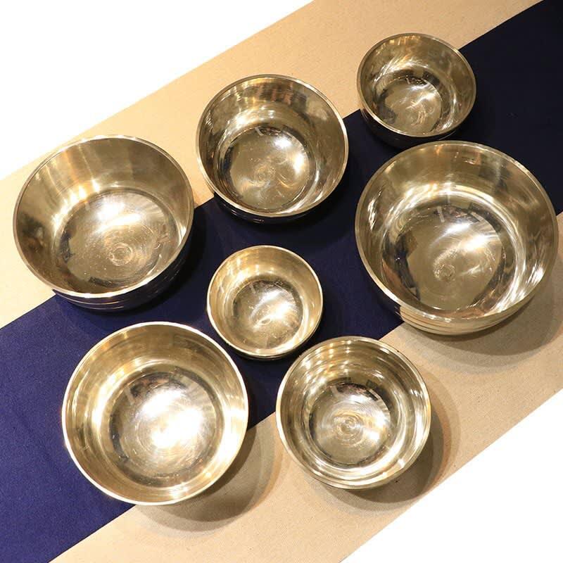 Juego de 7 piezas de cuencos para cantar, tazón de latón de Budista Tibetano para Yoga, meditación, decoración del hogar, Chakra de Nepal