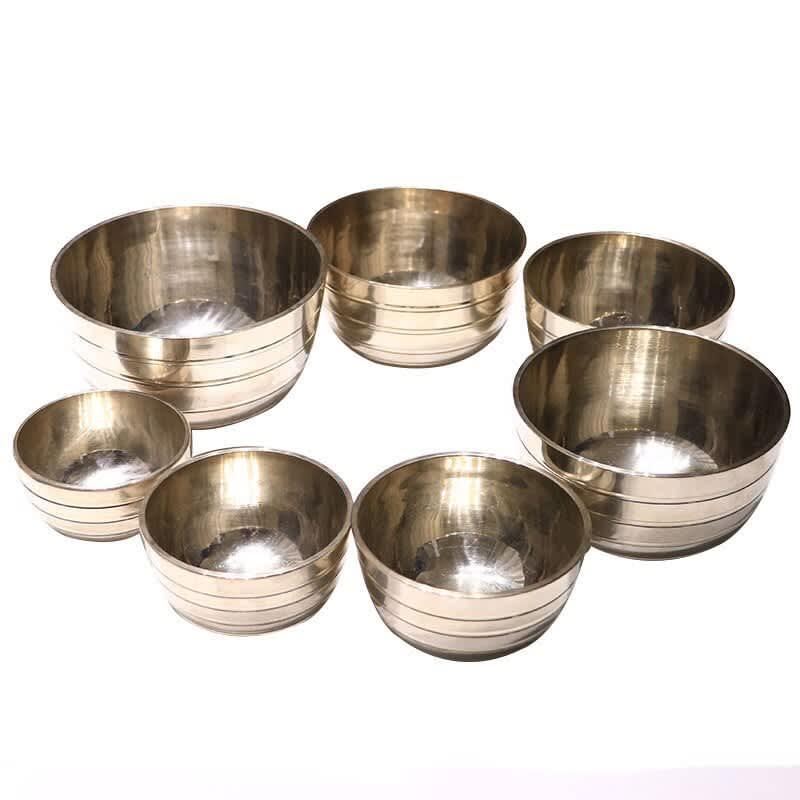 Juego de 7 piezas de cuencos para cantar, Budista Tibetano para cuenco de latón de Yoga, meditación, platos de pared, decoración del hogar, Chakra de Nepal con palo de madera