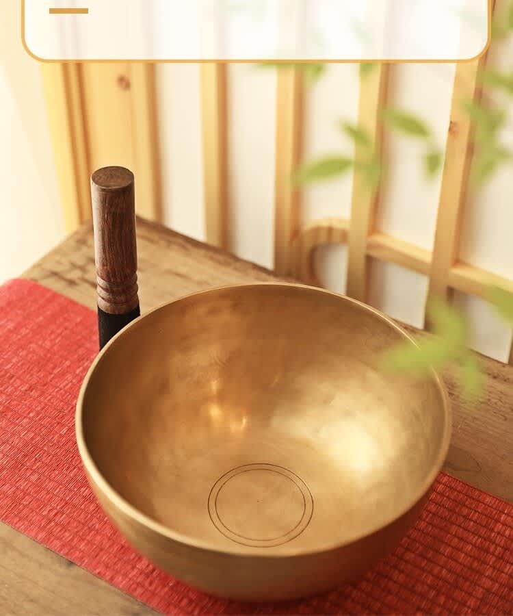 Juego de cuencos para cantar tibetanos, Cuencos cantores budista de cobre hecho a mano en Nepal con palo de cuero y cojín para curación de sonido Reiki Spa