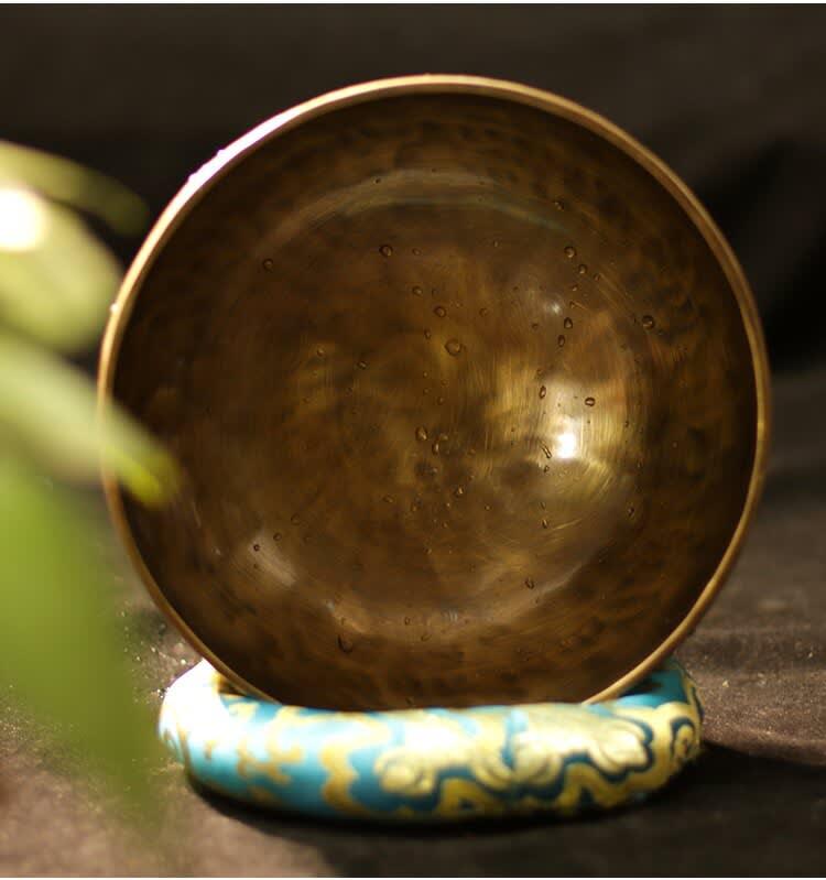 Cuenco de latón para cantar, cuenco de cobre hecho a mano en Nepal, terapia con 4 teclas para música y, con varillas y alfombrillas