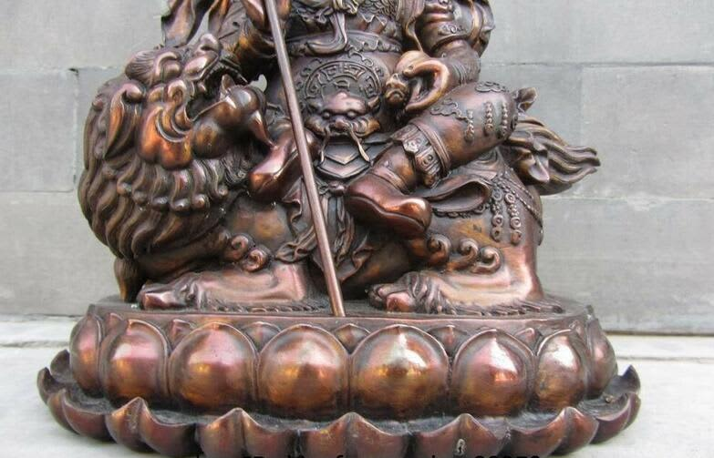 Templo Budista del Tíbet bronce cobre suerte riqueza Vaishravana estatua de Buda