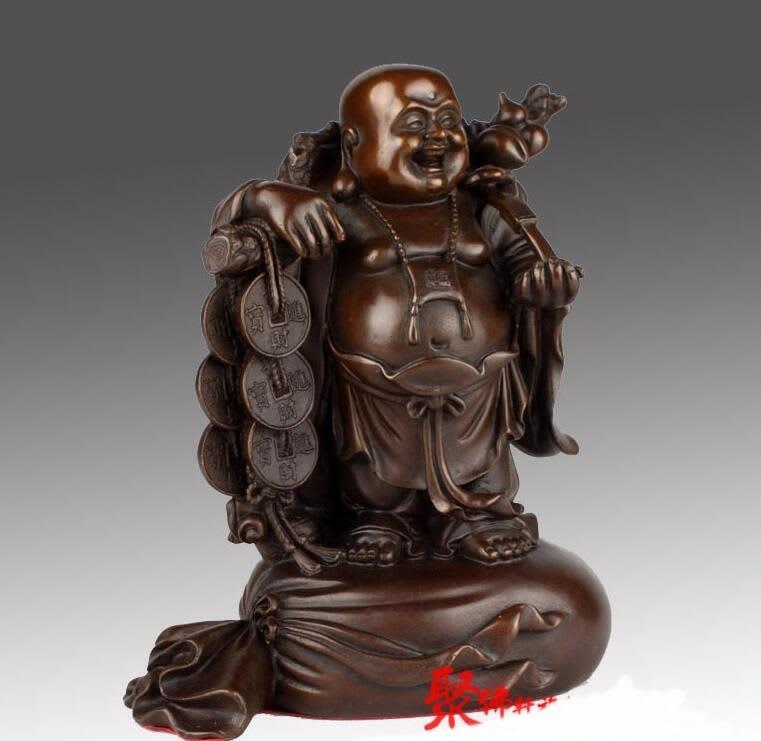Estatua de Buda de moneda y riqueza de Yuanbao, bronce chino, Ruyi, risa feliz de Maitreya