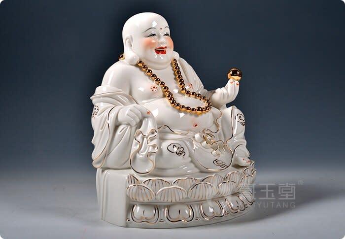 Dai Yutang-decoración del hogar, de cerámica Buda/11, 13 pulgadas, oro, Loto antiguo, Maitreya, Buda, D01-247
