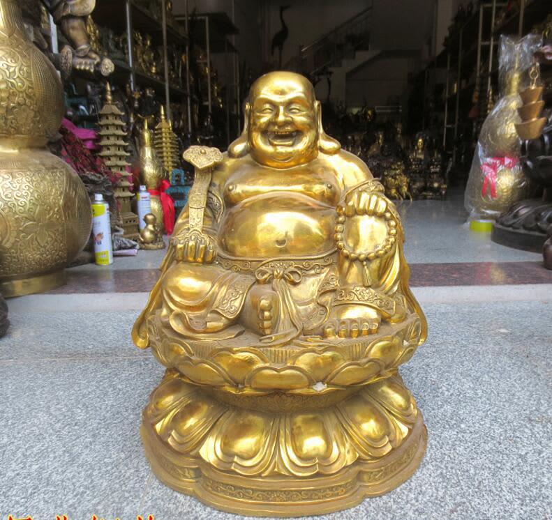 806 puro cobre Buda sonriendo invitar a dinero en Maitreya ornamento