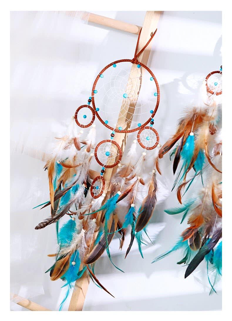 Atrapasueños de plumas para decoración de habitación, atrapasueños de ángulo de sueño, carillones de viento, mascota religiosa de estilo indio