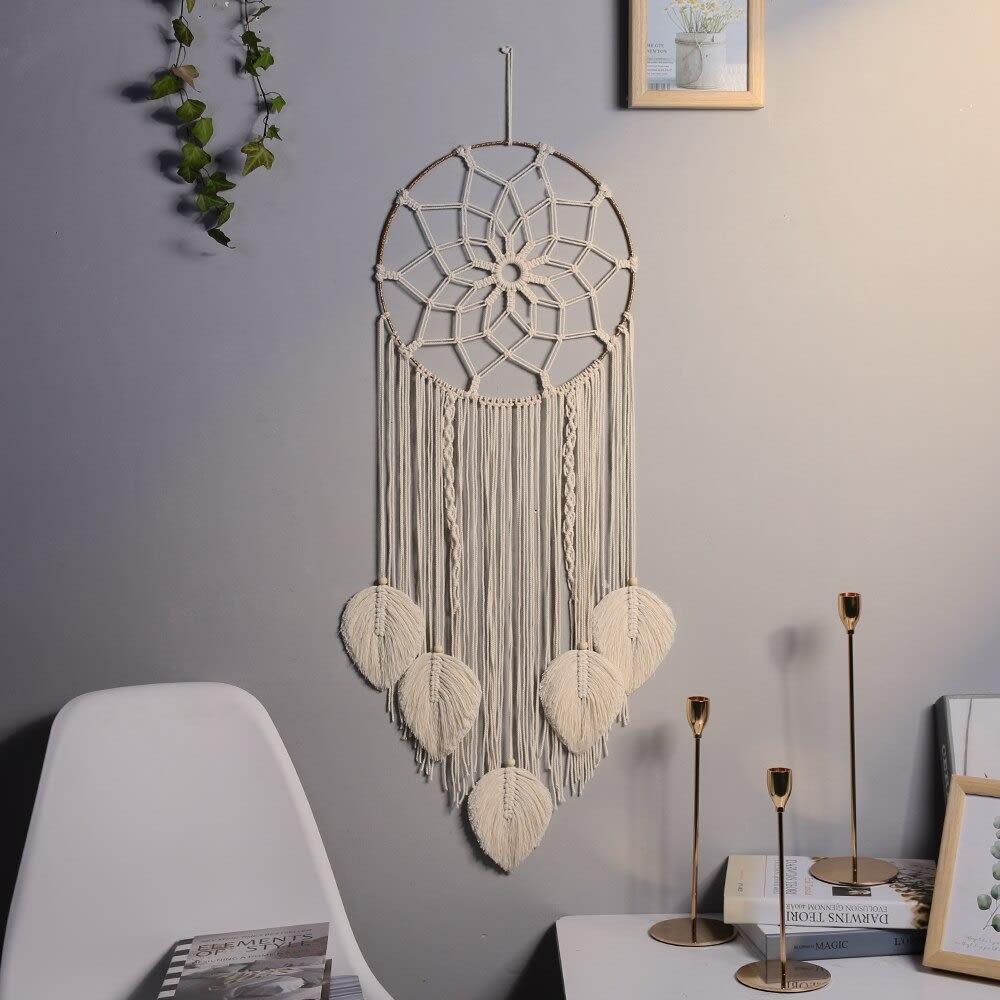 Atrapasueños de macramé, accesorios de decoración para el hogar, decoración de pared para habitación de niños con luz, 5 uds.